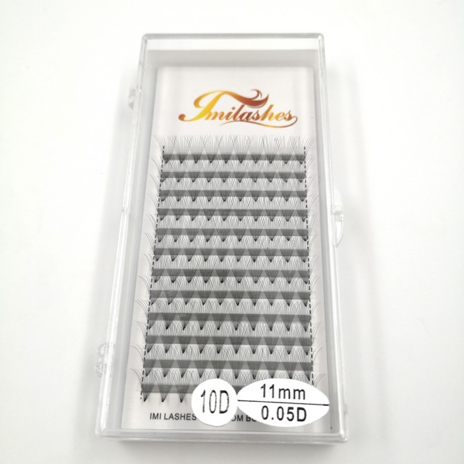 10D 0.05 D Curl Premade fans Super Soft  Russian Volume Lashes- A